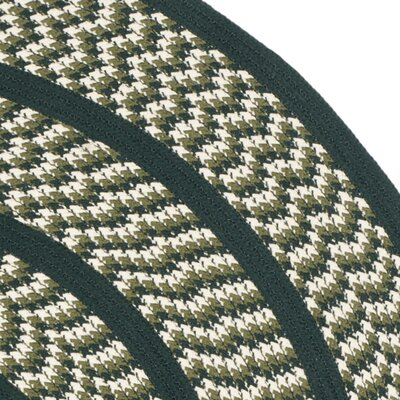 Braided Ivory/Dark Green Contemporary Area Rug Rug Size: Round 6'