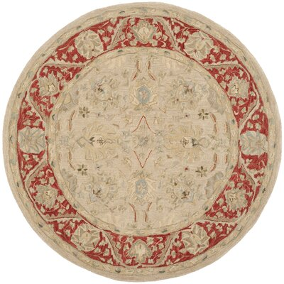 Anatolia Taupe/Red Indoor Area Rug Rug Size: Round 6'