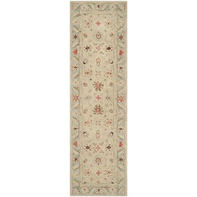 Anatolia Natural/Soft Turquoise Area Rug Rug Size: Runner 23 x 8