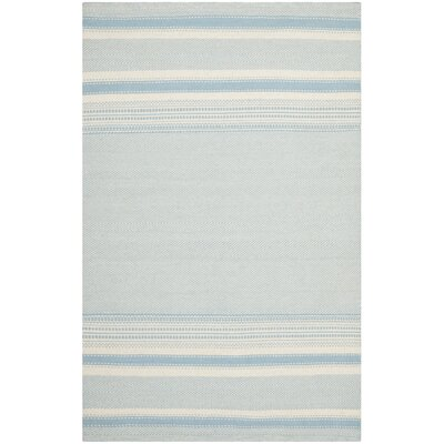 Kilim Hand-Woven Wool Light Blue/Ivory Area Rug Rug Size: Rectangle 5 x 8