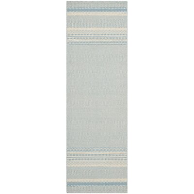 Kilim Hand-Woven Wool Light Blue/Ivory Area Rug Rug Size: Runner 23 x 9