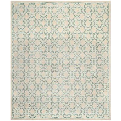 Mosaic Cream / Aqua Rug Rug Size: 9 x 12