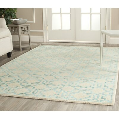 Mosaic Cream / Aqua Rug Rug Size: Rectangle 8 x 10