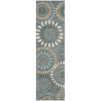 Jardin Grey & Blue Floral Area Rug Rug Size: Runner 23 x 8