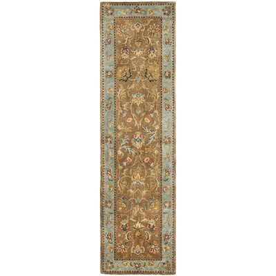 Bergama Hand-Woven Wool Brown/Blue Area Rug Rug Size: Runner 23 x 12