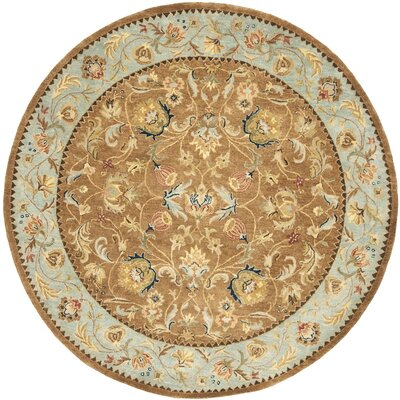 Bergama Hand-Woven Wool Brown/Blue Area Rug Rug Size: Round 8