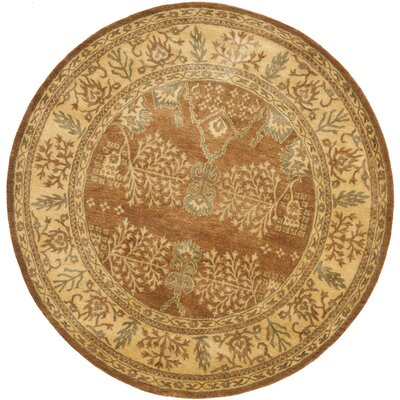Bergama Light Brown/Beige Area Rug Rug Size: Round 4'