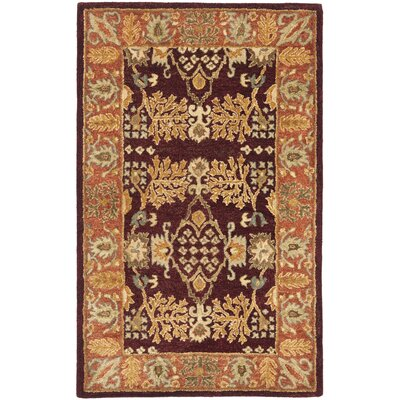 Bergama Red/Rust Area Rug Rug Size: Rectangle 4 x 6