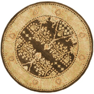 Bergama Brown/Green Area Rug Rug Size: Round 8