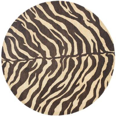 Bergama Beige/Brown Area Rug Rug Size: Round 4'