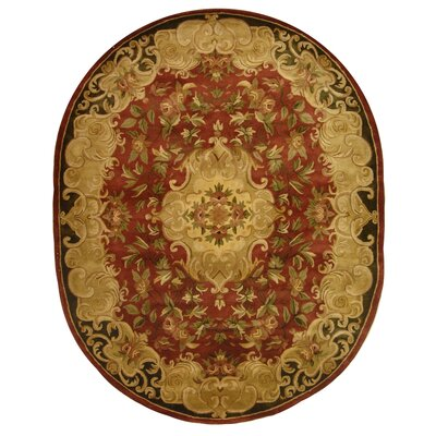 Classic Rust/Green Rug Rug Size: Oval 4'6