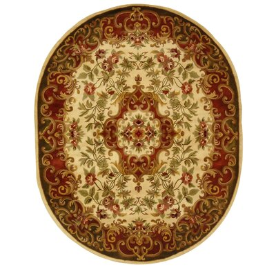 Classic Ivory/Green Rug Rug Size: Oval 4'6