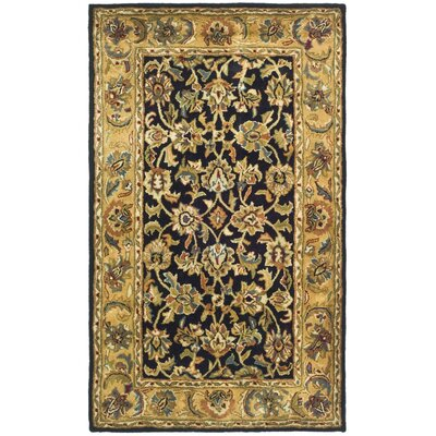 Classic Black / Gold Area Rug Rug Size: 2'3