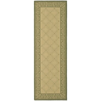 Courtyard Natural/Olive Outdoor Rug Rug Size: Runner 2'4