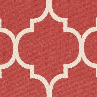 Short Red/Beige Outdoor/Indoor Area Rug Rug Size: Square 5'3