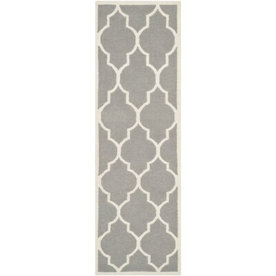 Dhurries Hand-Woven Wool Gray/Ivory Area Rug Rug Size: Runner 26 x 12