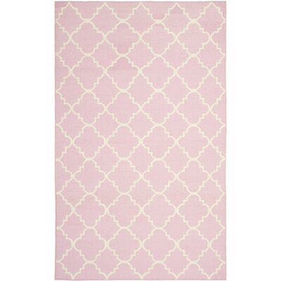 Dhurries Pink/Ivory Area Rug Rug Size: 6 x 9