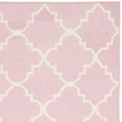 Dhurries Pink/Ivory Area Rug Rug Size: Square 6
