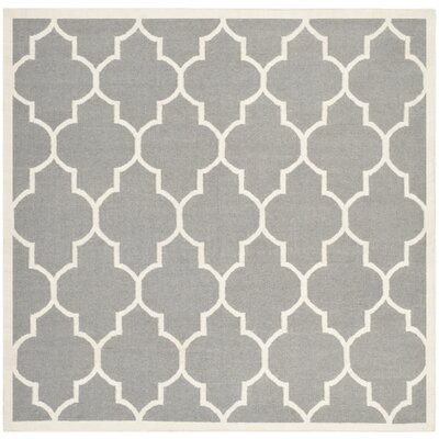 Dhurries Grey/Ivory Area Rug Rug Size: Square 8