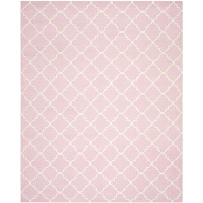 Dhurries Pink/Ivory Area Rug Rug Size: 8 x 10
