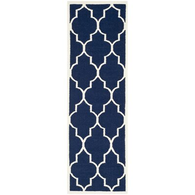 Dhurries Navy/Ivory Area Rug Rug Size: Runner 26 x 12