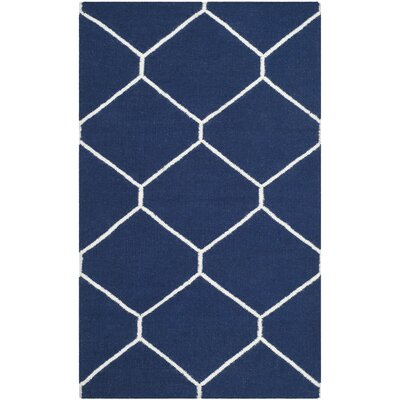 Dhurries Navy/Ivory Area Rug Rug Size: Rectangle 4 x 6