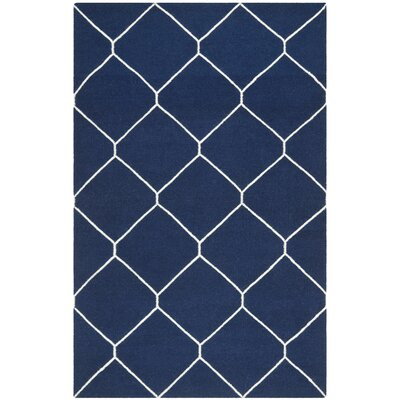 Dhurries Navy/Ivory Area Rug Rug Size: 6 x 9