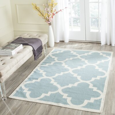 Dhurries Hand-Woven Wool Light Blue/Ivory Area Rug Rug Size: Rectangle 5 x 8