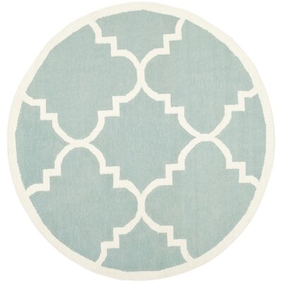 Dhurries Hand-Woven Wool Light Blue/Ivory Area Rug Rug Size: Round 6
