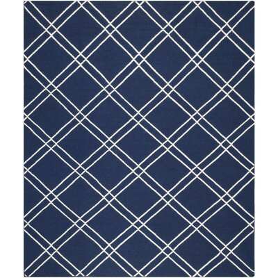 Dhurries Navy/Ivory Area Rug Rug Size: Rectangle 9 x 12