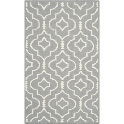 Crawford Hand-Woven Gray/Ivory Area Rug Rug Size: Rectangle 4 x 6