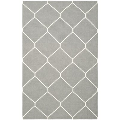 Dhurries Grey/Ivory Area Rug Rug Size: Rectangle 8 x 10