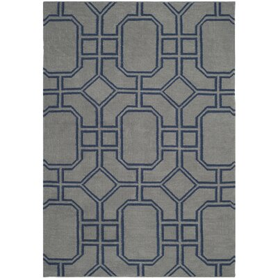 Dhurries Grey/Dark Blue Area Rug Rug Size: 3 x 5