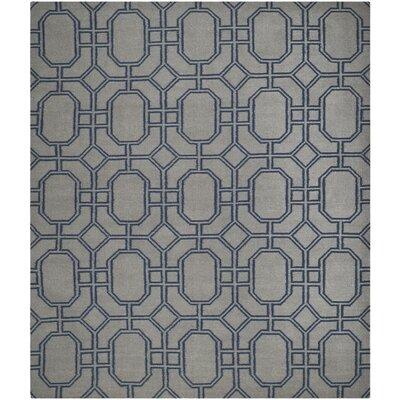 Dhurries Grey/Dark Blue Area Rug Rug Size: 9 x 12