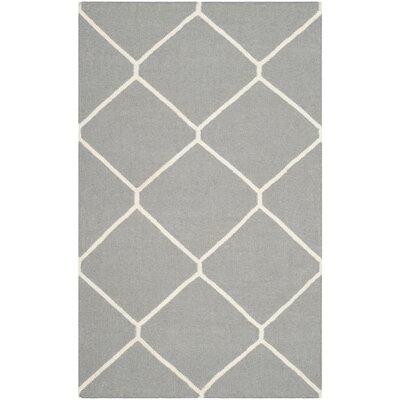 Dhurries Grey/Ivory Area Rug Rug Size: Rectangle 4 x 6