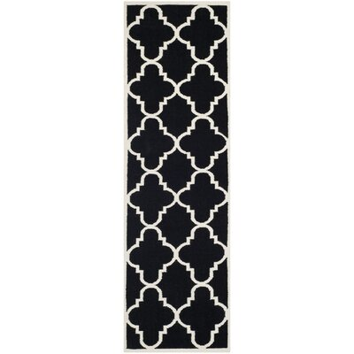 Dhurries Hand-Woven Wool Black/Ivory Area Rug Rug Size: Runner 26 x 12