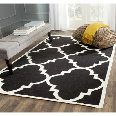 Dhurries Hand-Woven Wool Black/Ivory Area Rug Rug Size: Rectangle 6 x 9