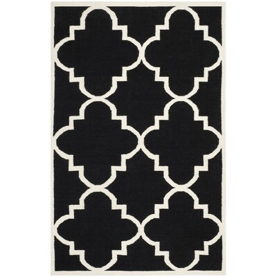 Dhurries Black/Ivory Area Rug Rug Size: 8' x 10'