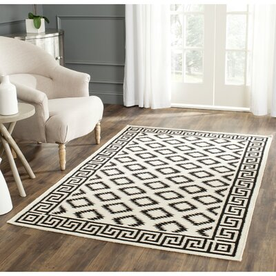 Dhurries Hand-Tufted Wool Brown/Ivory Area Rug Rug Size: Rectangle 4 x 6