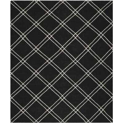Dhurries Black/Ivory Area Rug Rug Size: Rectangle 5 x 8