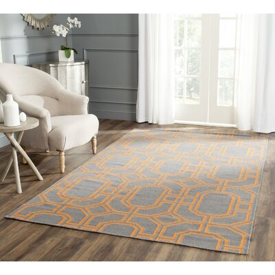 Dhurries Hand-Woven Wool Gray/Orange Area Rug Rug Size: Square 6