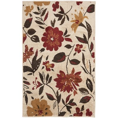 Kashmir Ivory / Red Rug Rug Size: Rectangle 5 x 8