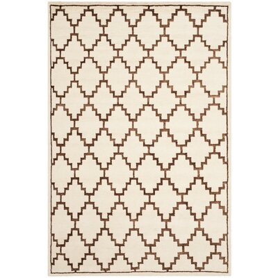 Mosaic Ivory / Brown Geometric Rug Rug Size: Rectangle 4 x 6