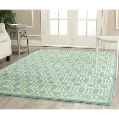 Mosaic Aqua / Light Gold Rug Rug Size: 5 x 8