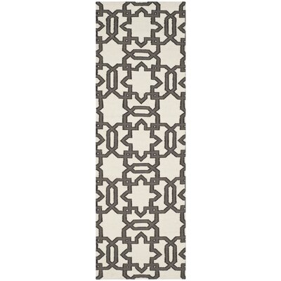 Dhurries Ivory / Grey Rug Rug Size: Runner 26 x 8