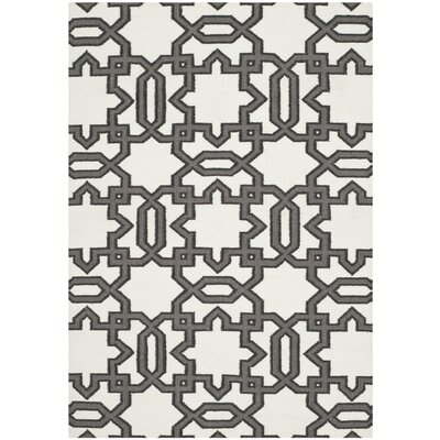 Dhurries Ivory / Grey Rug Rug Size: 6 x 9