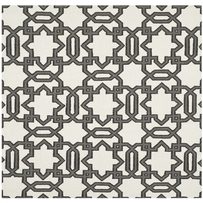 Dhurries Ivory / Grey Rug Rug Size: Square 6