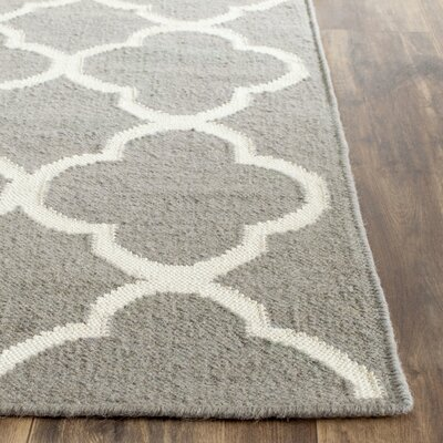 Dhurrie Hand-Woven Wool Light Gray/Ivory Area Rug Rug Size: Square 7