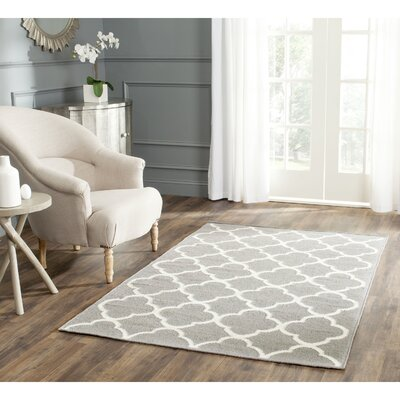 Dhurrie Hand-Woven Wool Light Gray/Ivory Area Rug Rug Size: Rectangle 5 x 8