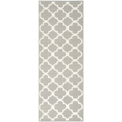 Dhurrie Hand-Woven Wool Light Gray/Ivory Area Rug Rug Size: Runner 2'6
